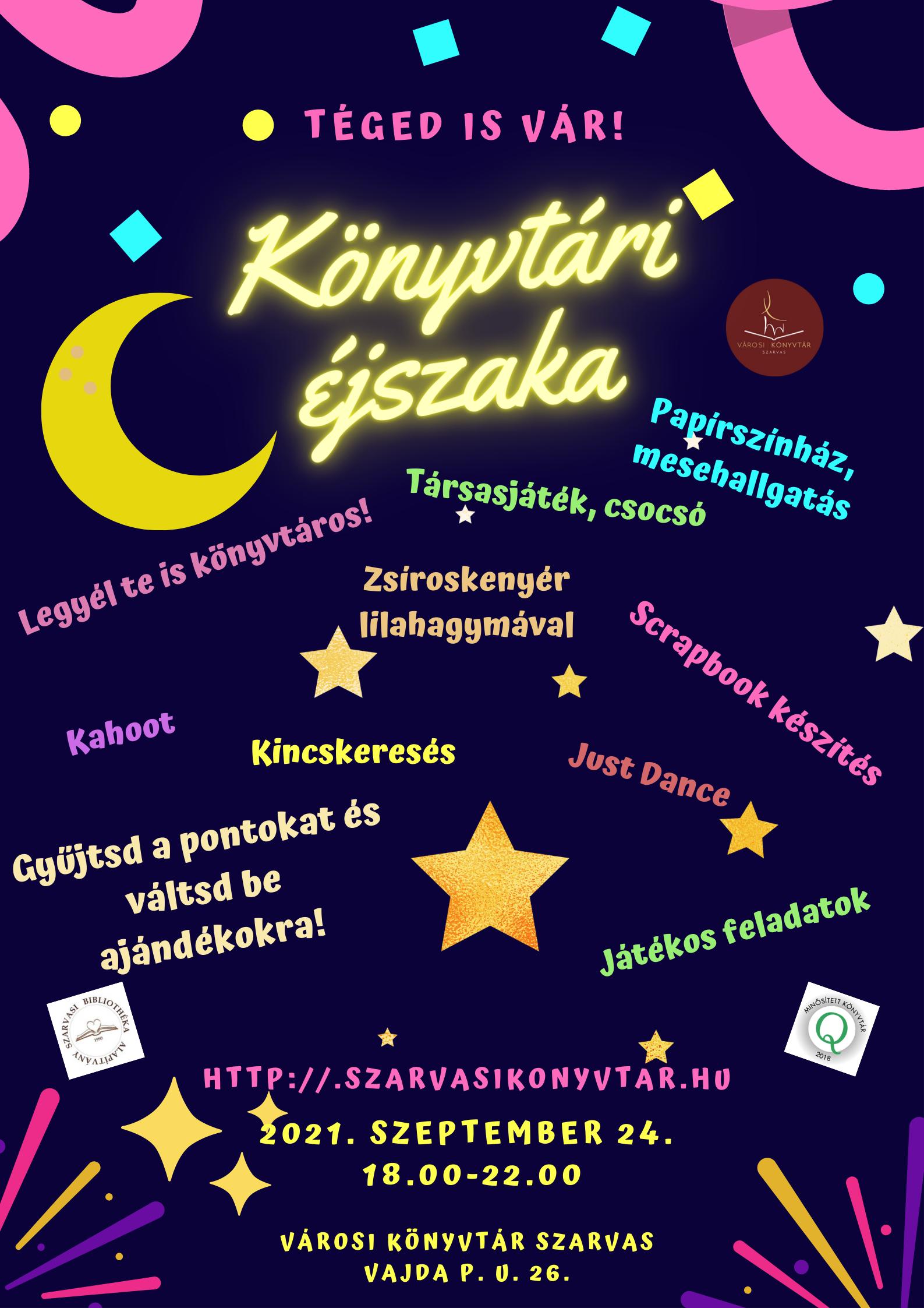 Könyvtári éjszaka részletes